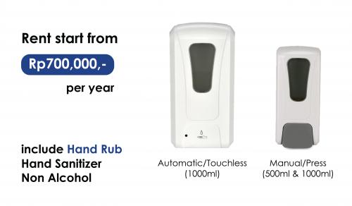 <span style='color:#000;font-size:18px;font-weight:700;'>Rental Dispenser dan Hand Sanitizer</span><br><span style='color:#000;font-size:14px !important;font-weight:400!important;'>Tersedia Dispenser Automatic & Press</span>