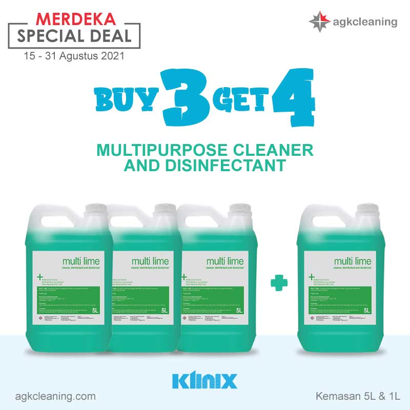 <span style='color:#000;font-size:18px;font-weight:700;'>Beli 3 Dapat 4 Cleaning Chemicals by KLINIX</span><br><span style='color:#000;font-size:14px !important;font-weight:400!important;'>[Promo Merdeka]  Beli 3 Dapat 4 - KLINIX Cairan Pembersih All Item</span>
